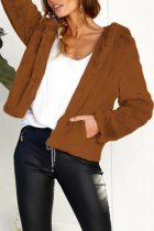 Coffee hooded Patchwork Solid Rabbit Hair Pure Long Sleeve  Jackets & Coats SJ08013