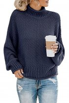 Navy Blue Turtleneck Solid knit Pure Long Sleeve  Sweaters & Cardigans MYH17013