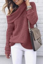 Brick red One word collar Solid knit Pure Long Sleeve  Sweaters & Cardigans MYH17014