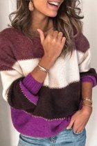 purple O Neck Patchwork Striped Acrylic Striped Long Sleeve  Sweaters & Cardigans HC15007