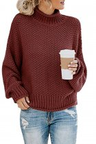 Wine Red Turtleneck Solid knit Pure Long Sleeve  Sweaters & Cardigans MYH17013