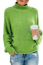 Fruit green Turtleneck Solid knit Pure Long Sleeve  Sweaters & Cardigans MYH17013