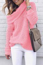 Pink One word collar Solid knit Pure Long Sleeve  Sweaters & Cardigans MYH17014