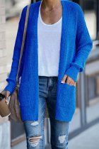 Blue cardigan Solid Patchwork knit Pure Long Sleeve  Sweaters & Cardigans HC15011