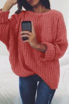 Red O Neck Patchwork Solid Cotton Pure Long Sleeve  Sweaters & Cardigans MYH17007