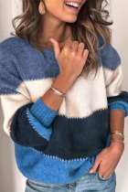 Blue O Neck Patchwork Striped Acrylic Striped Long Sleeve  Sweaters & Cardigans HC15007