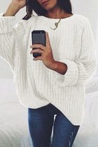White O Neck Patchwork Solid Cotton Pure Long Sleeve  Sweaters & Cardigans MYH17007