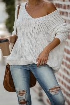 White V Neck Solid Patchwork knit Pure Long Sleeve  Sweaters & Cardigans HC15006