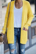 Yellow cardigan Solid Patchwork knit Pure Long Sleeve  Sweaters & Cardigans HC15011