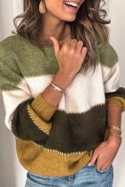 Green O Neck Patchwork Striped Acrylic Striped Long Sleeve  Sweaters & Cardigans HC15007