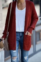 Wine Red cardigan Solid Patchwork knit Pure Long Sleeve  Sweaters & Cardigans HC15011
