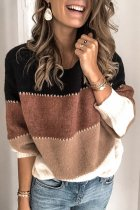 Brown O Neck Patchwork Striped Acrylic Striped Long Sleeve  Sweaters & Cardigans HC15007