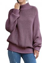 purple Turtleneck Solid knit Pure Long Sleeve  Sweaters & Cardigans MYH17013