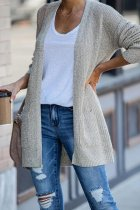 Light Gray cardigan Solid Patchwork knit Pure Long Sleeve  Sweaters & Cardigans HC15011