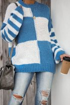 Blue O Neck Patchwork Plaid Cotton Plaid Long Sleeve  Sweaters & Cardigans HC15020