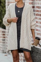 Cream white V Neck Solid Geometric Patchwork Cotton Pure Long Sleeve  Sweaters & Cardigans HC15021