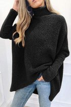 Black Turtleneck Patchwork Solid knit Pure Long Sleeve  Sweaters & Cardigans SF16008