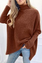 Khaki Turtleneck Patchwork Solid knit Pure Long Sleeve  Sweaters & Cardigans SF16008