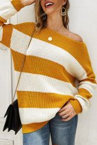 Yellow O Neck Patchwork Striped knit Striped Long Sleeve  Sweaters & Cardigans DY12002