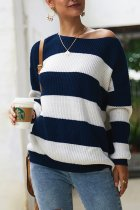 Royal blue O Neck Patchwork Striped knit Striped Long Sleeve  Sweaters & Cardigans DY12002
