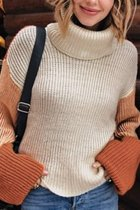 Orange Turtleneck Geometric knit Others Long Sleeve  Sweaters & Cardigans SF16015