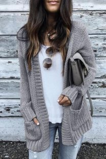 Grey cardigan Solid Cotton Pure Long Sleeve  MMY01006