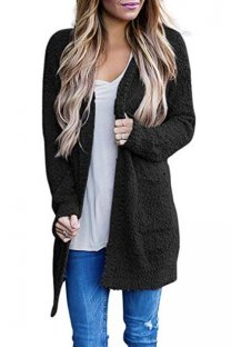 Black V Neck Solid Polyester Pure Long Sleeve  Sweaters & Cardigans MMY01021