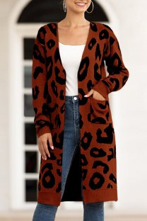 Coffee V Neck Leopard Cotton Others Long Sleeve  MMY01004