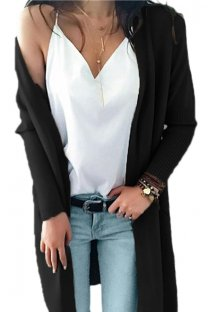 Black V Neck Solid Acrylic Pure Long Sleeve  Sweaters & Cardigans MMY01023