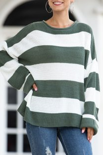 Green O Neck O Neck Patchwork Striped Solid Sticky Striped Long Sleeve Long Sleeve  MMY01012
