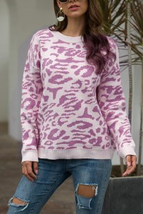 purple O Neck Leopard Cotton Others Long Sleeve  Sweaters & Cardigans MMY01081