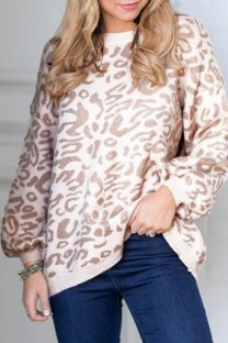 Khaki O Neck Leopard knit Others Long Sleeve  Sweaters & Cardigans MMY01080