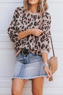 Pink O Neck Leopard Cotton Others Long Sleeve  Sweaters & Cardigans MMY01079