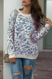 Blue O Neck Leopard Cotton Others Long Sleeve  Sweaters & Cardigans MMY01081