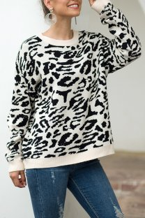 Black O Neck Leopard Cotton Others Long Sleeve  Sweaters & Cardigans MMY01081