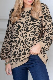 As Show O Neck Leopard knit Others Long Sleeve  Sweaters & Cardigans MMY01080