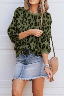 Green O Neck Leopard Cotton Others Long Sleeve  Sweaters & Cardigans MMY01079