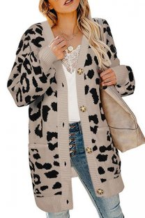 Khaki V Neck Leopard Button Acrylic Others Long Sleeve  Sweaters & Cardigans MMY01078