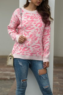 Pink O Neck Leopard Cotton Others Long Sleeve  Sweaters & Cardigans MMY01081