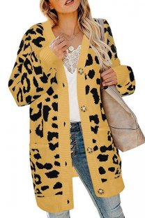 Yellow V Neck Leopard Button Acrylic Others Long Sleeve  Sweaters & Cardigans MMY01078