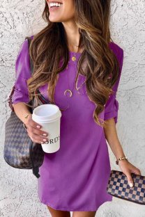 purple Cotton adult Fashion Sexy Cap Sleeve Half Sleeves O neck Straight Mini Patchwork Solid  Mini Dresses YSM03004