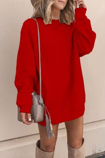 Red Polyester adult Europe and America Fashion Cap Sleeve Long Sleeves O neck Straight Mini Patchwork Solid  Mini Dresses YSM03009
