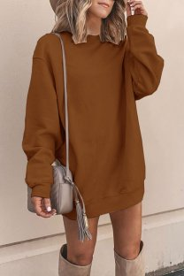 Brown Polyester adult Europe and America Fashion Cap Sleeve Long Sleeves O neck Straight Mini Patchwork Solid  Mini Dresses YSM03009