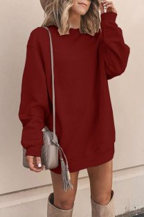 Wine Red Polyester adult Europe and America Fashion Cap Sleeve Long Sleeves O neck Straight Mini Patchwork Solid  Mini Dresses YSM03009