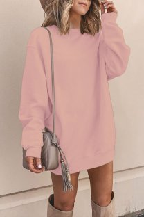 Pink Polyester adult Europe and America Fashion Cap Sleeve Long Sleeves O neck Straight Mini Patchwork Solid  Mini Dresses YSM03009