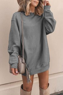 Dark Gray Polyester adult Europe and America Fashion Cap Sleeve Long Sleeves O neck Straight Mini Patchwork Solid  Mini Dresses YSM03009