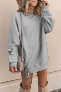 Light Gray Polyester adult Europe and America Fashion Cap Sleeve Long Sleeves O neck Straight Mini Patchwork Solid  Mini Dresses YSM03009