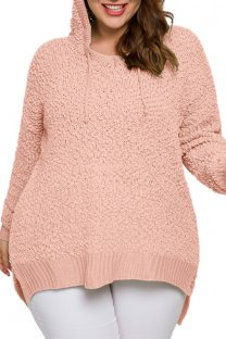 Pink knitting adult Fashion Casual O Neck Solid Patchwork  Plus Size Tops SJ08008