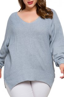 Grey knitting adult Fashion Sexy V Neck Solid  Plus Size Tops SJ08006