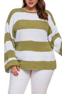 Green knitting Casual O Neck Patchwork Striped Stripe  Plus Size Tops SJ08004